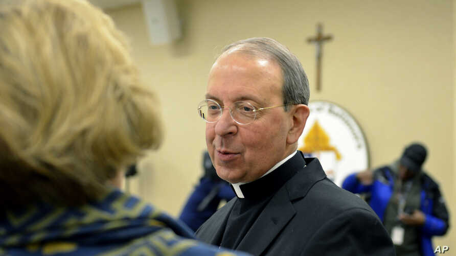 Archbishop William Lori, of Baltimore, attends a press briefing at the archdiocese's headquarters in Baltimore, Jan 15, 2019.