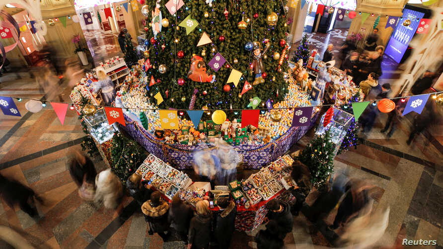 A view of Christmas and New Year's market in GUM department store in Moscow, Nov. 30, 2018.