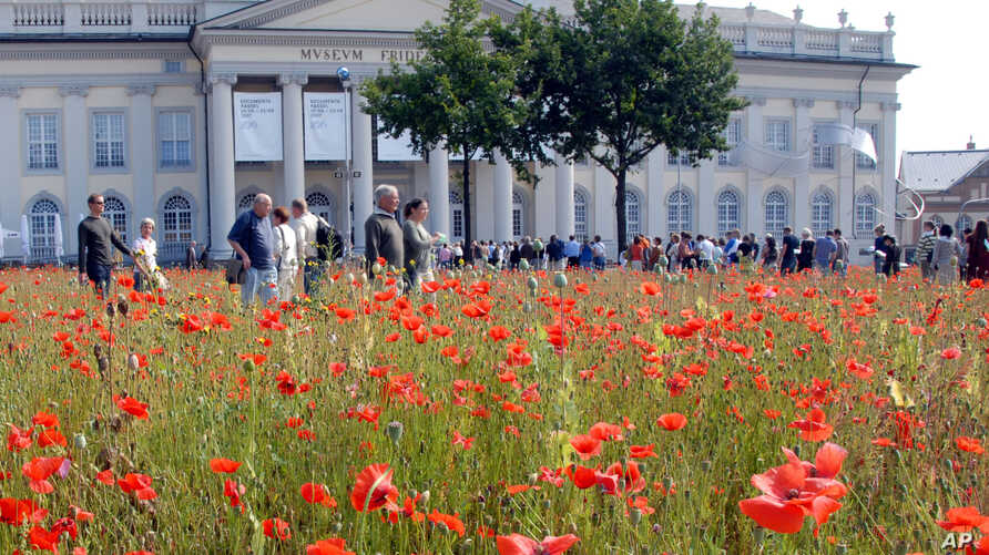 FILE - Visitors of the 'documenta 12' are seen through the 'Poppy Field' installation of Croatian artist Sanja Ivekovic in Kassel, Germany, Aug. 4, 2007.