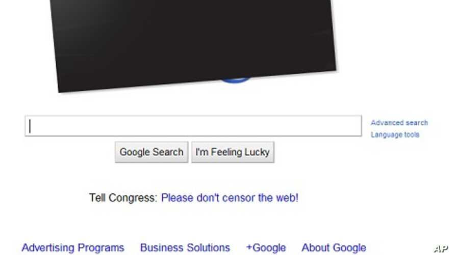 Google posts black bar over its colorful logo in protest of anti-piracy laws under consideration in U.S. Congress, January 18, 2011