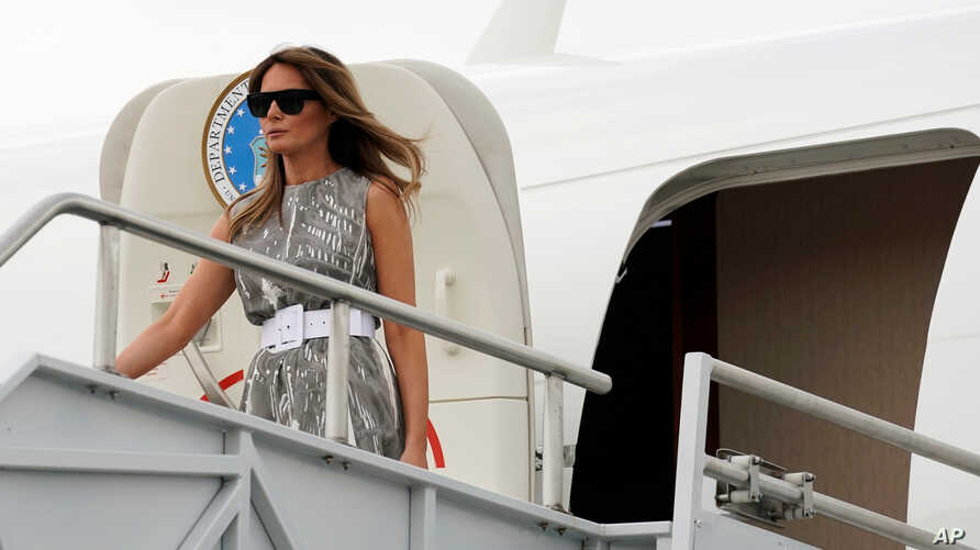 "U.S. first lady Melania Trump steps from the plane as she arrives to visit Vanderbilt Children's Hospital as part of her ""Be Best"" campaign in Nashville, Tennessee,  U.S., July 24, 2018."