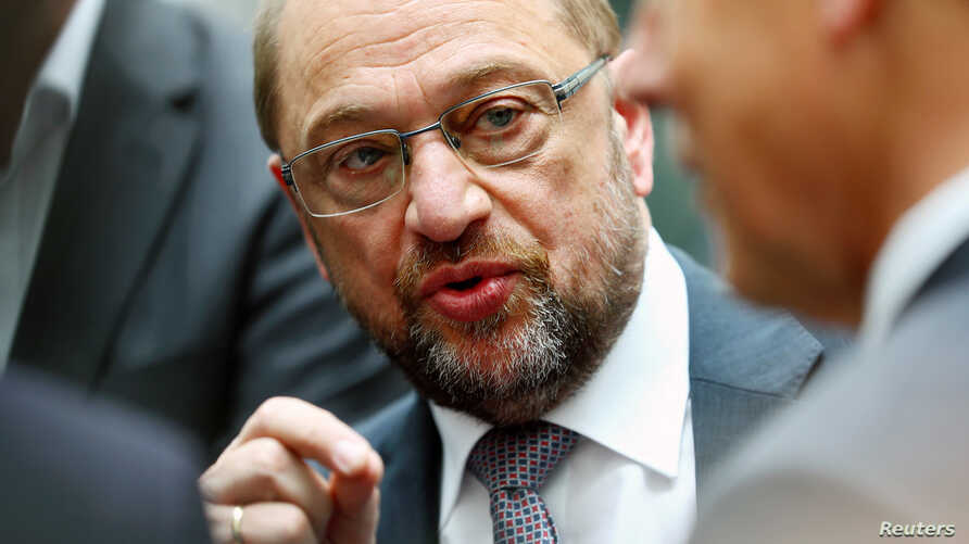 Germany's candidate for chancellor Martin Schulz talks to journalists after a news conference in Berlin, Germany, June 27, 2017.