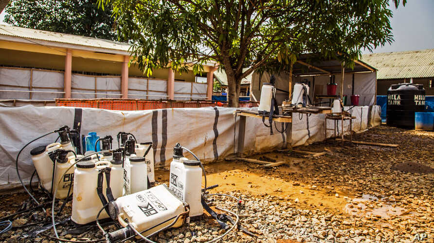 FILE - An empty Ebola virus decontamination zone at the Hastings treatment clinic, as the Ebola virus shows signs of diminishing, in Freetown, Sierra Leone, Jan. 23,  2015
