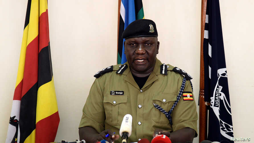Uganda's police spokesperson Fred Enanga addresses the media on the rescue of American tourist Kimberly Sue Endecott, who was abducted by gunmen in Queen Elizabeth National Park, at the police headquarters in Kampala, Uganda, April 8, 2019.
