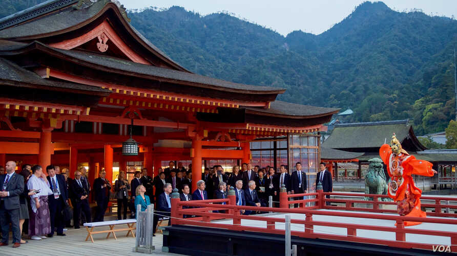 The Group of Seven foreign ministers tour the Itsukishima Shrine off Hiroshima, Japan, amid the G-7 Ministerial Meetings, April 10, 2016.