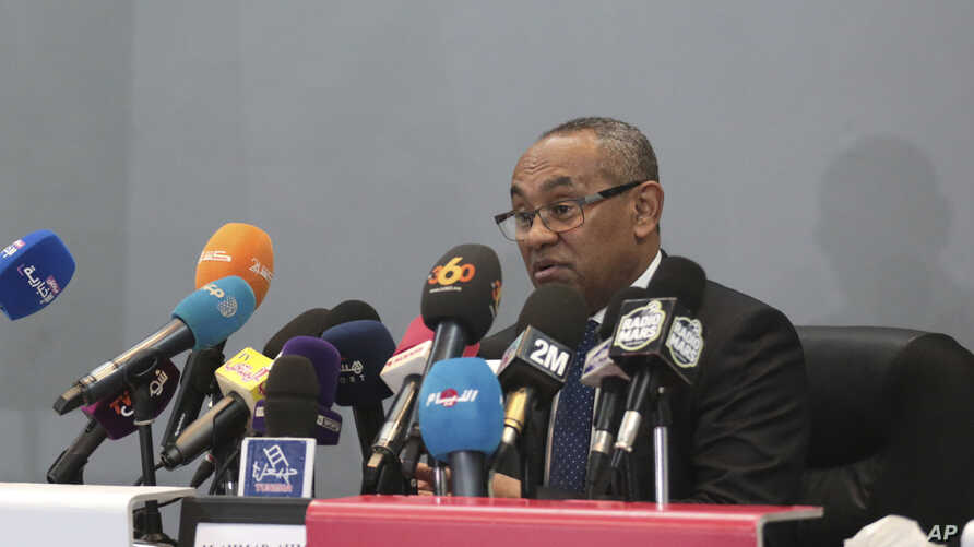 FILE - New president of the African soccer confederation Ahmad of Madagascar, speaks at a press conference in Marrakesh, Morocco, Tuesday, March 28, 2017.