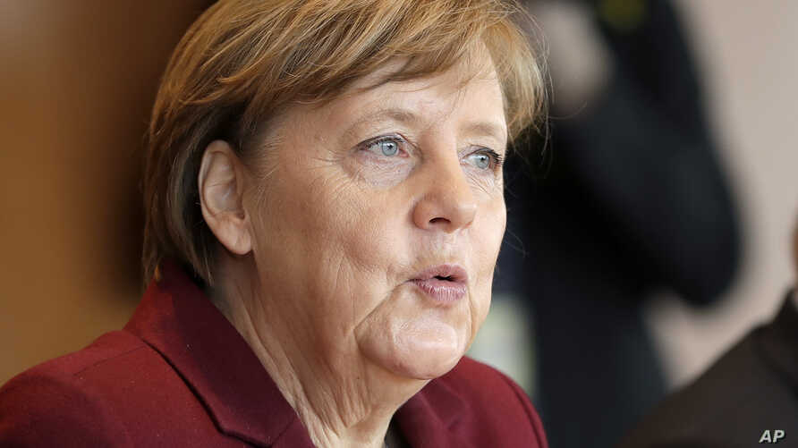 German Chancellor Angela Merkel attends the weekly cabinet meeting at the chancellery in Berlin, Germany, Wednesday, April 5, 2017.