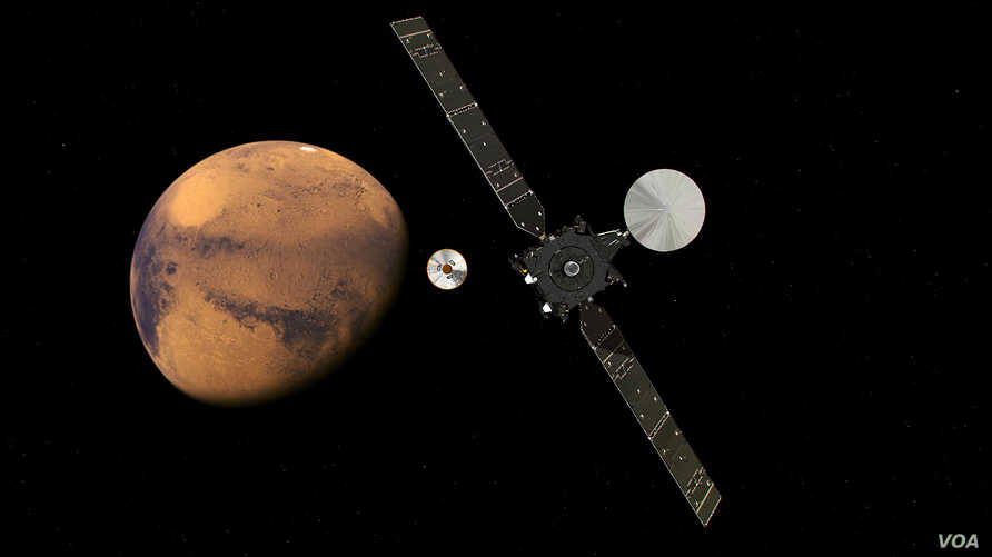 The ExoMars Trace Gas Orbiter and its entry, descent and landing demonstrator module, Schiaparelli, approaching Mars. The separation is scheduled to occur on 16 October 2016, about seven months after launch.