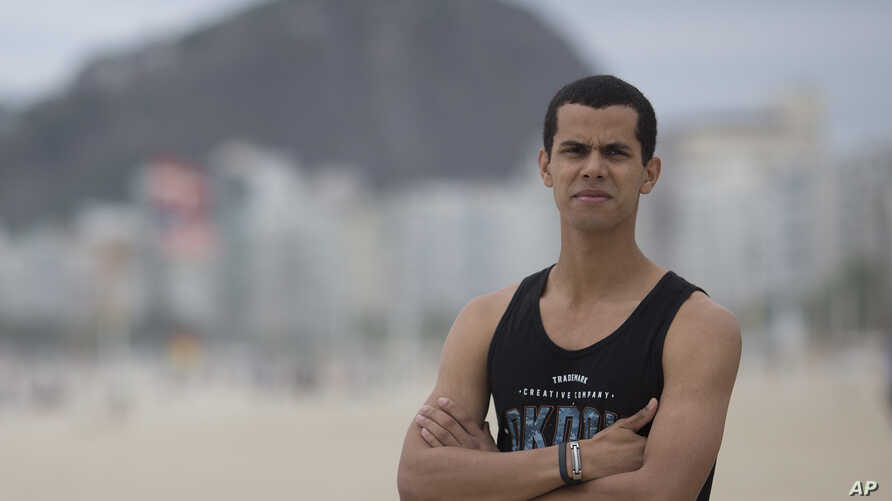 Event promoter Peter Rooker poses for a portrait at Copacabana beach in Rio de Janeiro, Brazil, Oct. 16. 2018. In the lead up to Brazil's elections, Rooker struggled to find a presidential candidate he believed in, but he was sure of one thing though