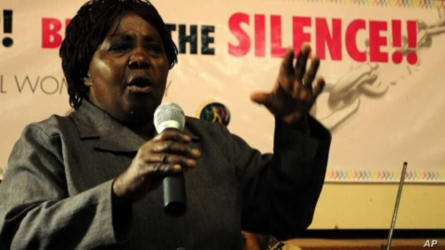 A relative of a victim of extrajudicial killings recounts her experience at a rally in Nairobi, March 8, 2011