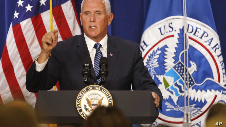 Vice President Mike Pence speaks at U.S. Immigration and Customs Enforcement, at ICE headquarters,  July 6, 2018, in Washington.