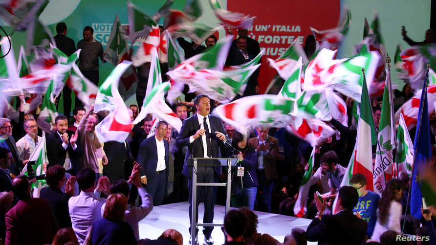 Democratic Party leader Matteo Renzi speaks during the final rally ahead of March 4 elections, in Florence, Italy, March 2, 2018.