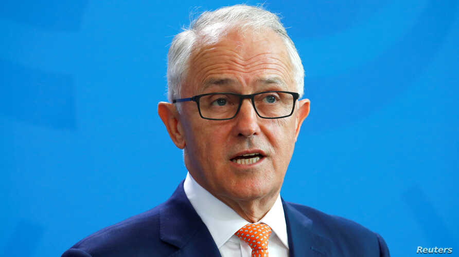 FILE - Australia's Prime Minister Malcolm Turnbull during a press conference in Berlin, Germany, April 23, 2018.