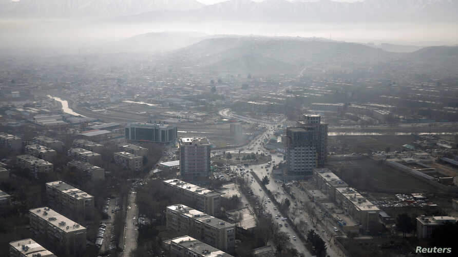 FILE - An aerial view of Kabul, Afghanistan, Feb. 11, 2016.