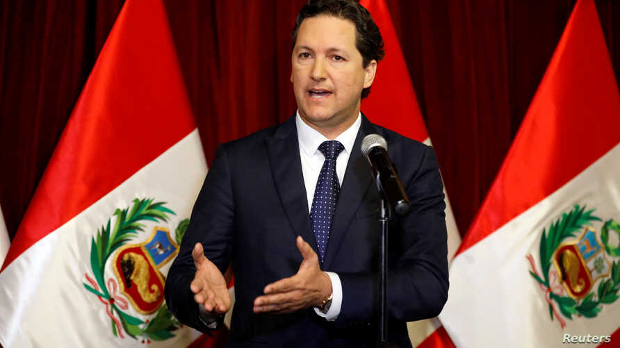 Peru's Congress President Daniel Salaverry speaks to the media after Peru's President Martin Vizcarra asked the Congress for a new vote of confidence in his Cabinet in Lima, Peru, Sept. 17, 2018.