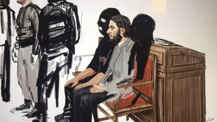 In this courtroom sketch, Salah Abdeslam, right, and Soufiane Ayari, left, appear at the Brussels Justice Palace in Brussels on Monday, Feb. 5, 2018.