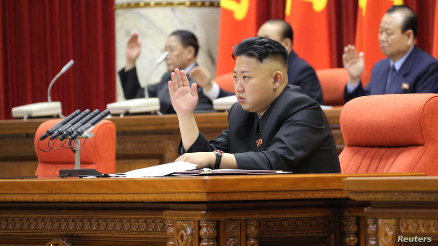 North Korean leader Kim Jong-Un presides over a plenary meeting of the Central Committee of the Workers' Party of Korea in Pyongyang March 31, 2013 in this picture released by the North's official KCNA news agency.