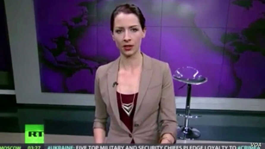 Russia Today host Abby Martin is seen in this screengrab from YouTube during her statement denoucning the Russian incursion into Ukraine.