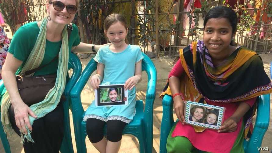 Sasha Forbes, left, and her 9-year-old daughter Maya, middle, meet their sponsored girl in Khulna, Bangladesh, April  2018. The Girls Education Program provides extra-curricular support, such as daily tutoring, books, school supplies and educational