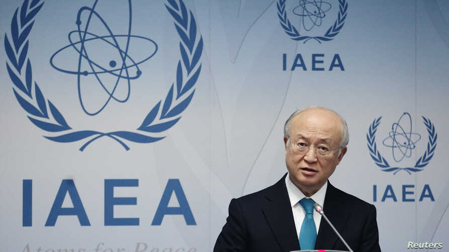 FILE - International Atomic Energy Agency (IAEA) Director General Yukiya Amano addresses a news conference.