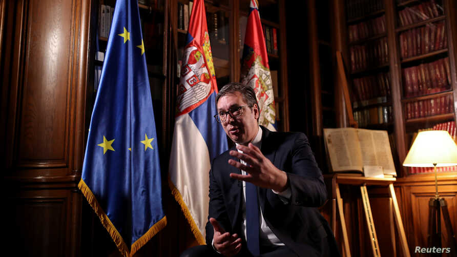 Serbian President Aleksandar Vucic speaks during an interview with Reuters in Belgrade, Serbia, March 21, 2019.