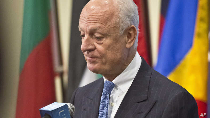 U.N. Syria envoy Staffan de Mistura during a press conference after his meeting with the U.N. Security Council, Oct. 30, 2014 at U.N. headquarters.