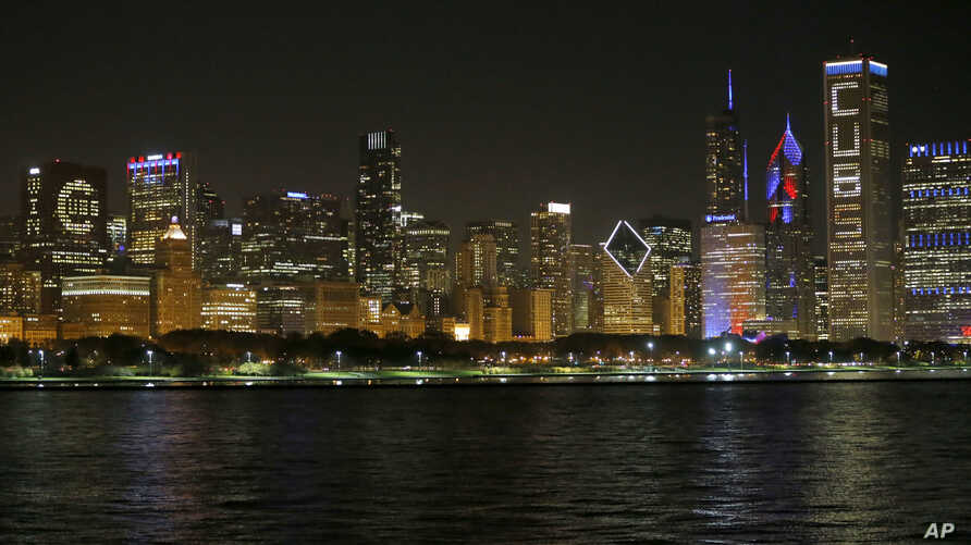 FILE - A nighttime view of the Chicago skyline.
