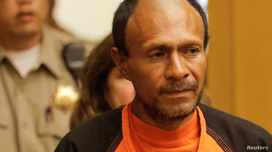 FILE - Jose Ines Garcia Zarate, arrested in connection with the July 1, 2015, shooting of Kate Steinle on a pier in San Francisco, enters the Hall of Justice for his arraignment in San Francisco, July 7, 2015.
