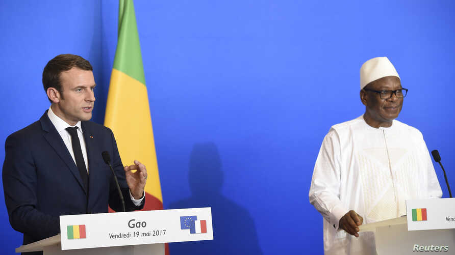 FILE - Mali's President Ibrahim Boubacar Keita is pictured at a news conference in Gao, May 19, 2017.