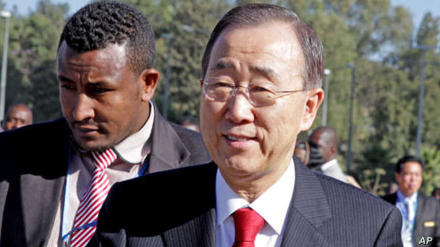 UN Secretary-General Ban Ki-moon arrives for the 18th African Union Summit in the Ethiopia's capital, Addis Ababa, January 29, 2012.
