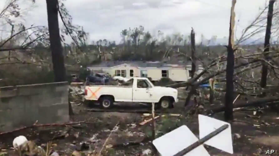 This photo shows debris in Lee County, Ala., after what appeared to be a tornado struck in the area Sunday, March 3, 2019.