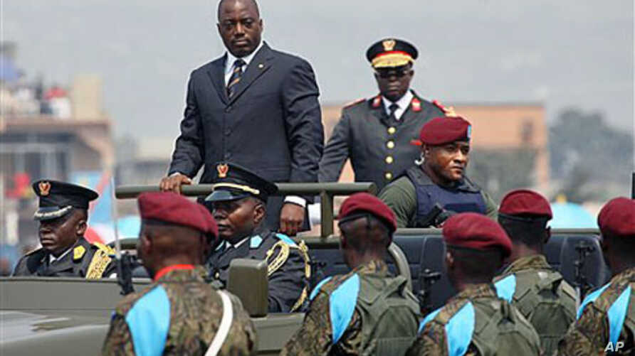 The President of the Democratic Republic of Congo Joseph Kabila arrives for the yearly national parade in Kinshasa, Democratic Republic of Congo, June 30, 2010 (file photo)