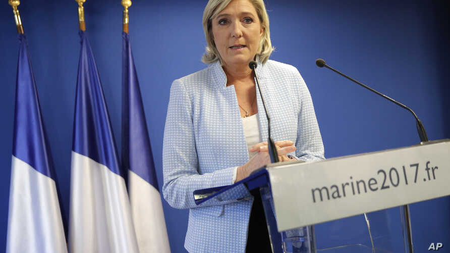 France 2016 US Election: French far-right leader Marine le Pen makes a statement on the presidential election in the United States of America, Wednesday Nov. 9, 2016 in Nanterre, outside Paris. A French outsider with an anti-system agenda, far-right