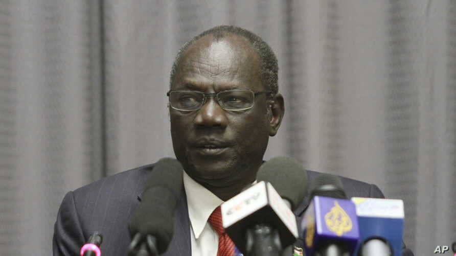 FILE - South Sudan's Information Minister Michael Makuei attends a press conference in Addis Ababa, Ethiopia, Jan. 5, 2014. The Trump administration on Wednesday, Sept. 6, 2017 imposed sanctions on Michael Makuei, another senior member of South Sudan