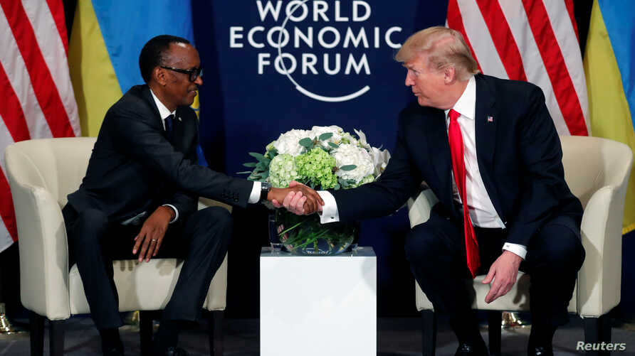 U.S. President Donald Trump meets President Paul Kagame of Rwanda during the World Economic Forum annual meeting in Davos, Switzerland, Jan.  26, 2018.