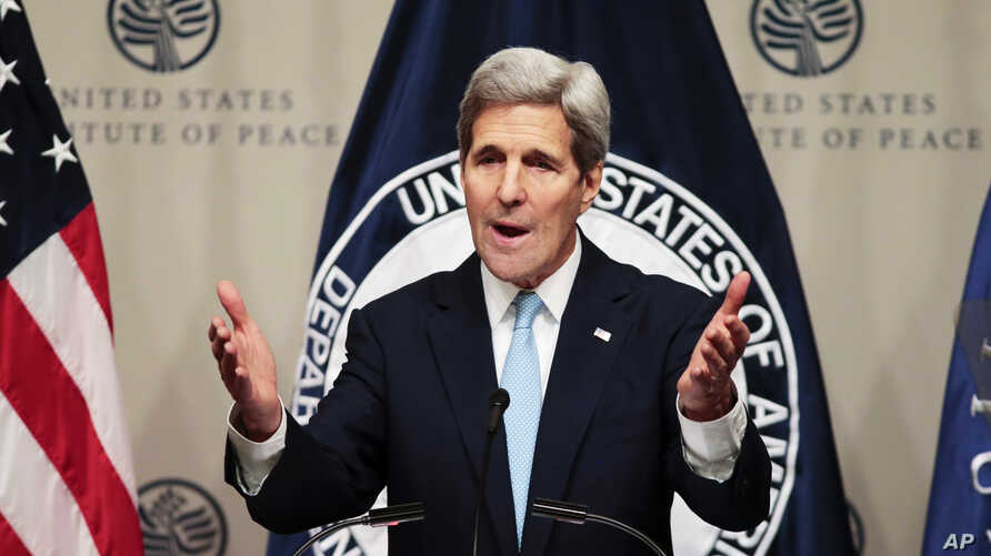 Secretary of State Kerry speaks at The United States Institute of Peace on U.S. strategy in Syria and the Middle East just before heading back to Vienna for more talks on how to resolve the crisis, Nov. 12, 2015.