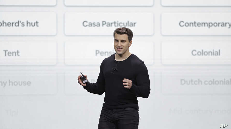 FILE - Airbnb co-founder and CEO Brian Chesky speaks during an event Thursday, Feb. 22, 2018, in San Francisco.