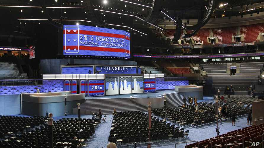The stage stands ready for the start of the Democratic National Convention at the Wells Fargo Center in Philadelphia, July 22, 2016. The convention is scheduled to convene on Monday.