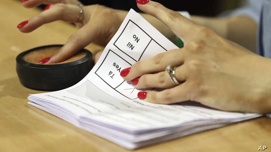 Counting of votes begins in the Irish referendum on the 8th Amendment of the Irish Constitution, in Dublin, Ireland, May 26, 2018.