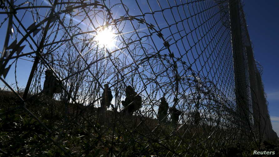 Migrants walk along Hungary's border fence on the Serbian side of the border near Morahalom, Hungary, Feb. 22, 2016.