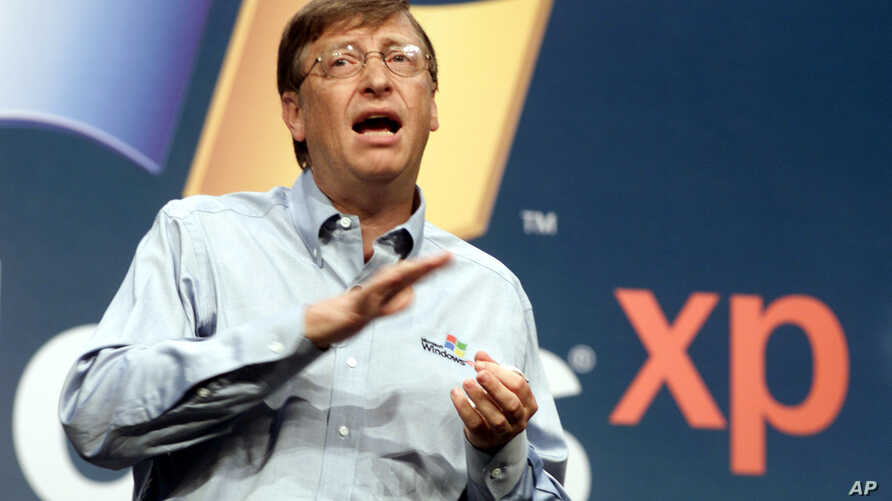 FILE - In this Oct. 25, 2001 file photo, then Microsoft chairman Bill Gates speaks during the product launch of the new Windows XP operating system in New York.