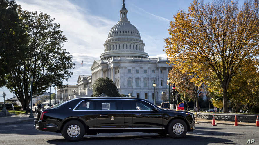 President Donald Trump's motorcade leaves Capitol Hill after a ceremony for new Associate Justice Brett Kavanaugh at the Supreme Court, in Washington, Nov. 8, 2018.