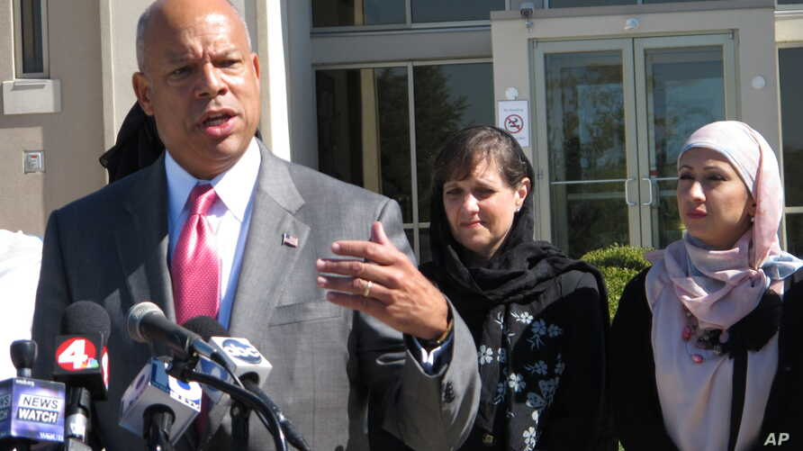 FILE - After meeting with police and Muslim communty representatives in Columbus, Ohio, Homeland Security Secretary Jeh Johnson talks about the need for vigilance against possible violent extremism in the United States, Sept. 24, 2014
