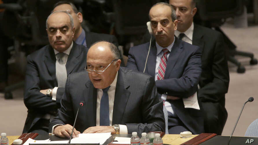 Egyptian Foreing Minister Sameh Shoukry speaks during a Security Council meeting on the situation in Libya, Wednesday, Feb. 18, 2015.