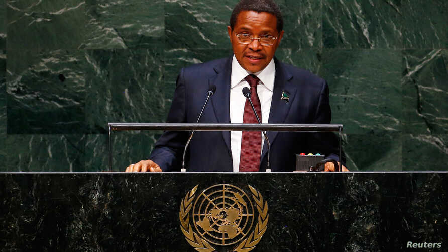 FILE - Jakaya Kikwete, president of Tanzania, addresses the U.N. General Assembly in New York, Sept. 25, 2014.