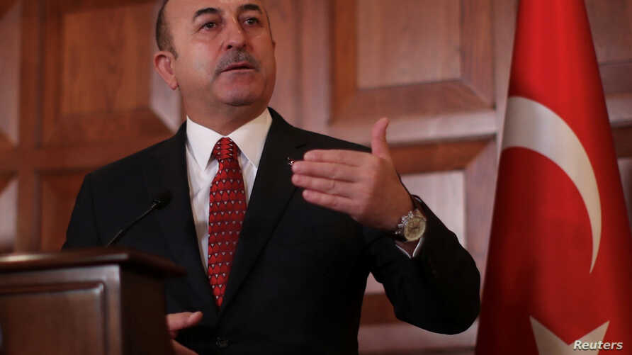 Turkish Foreign Minister Mevlut Cavusoglu speaks during a news conference in Ankara, Turkey, Jan. 14, 2019.