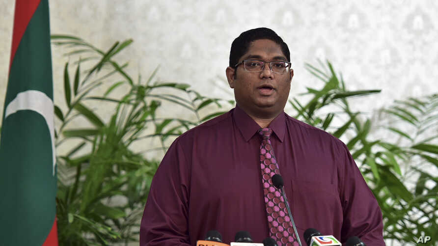 Maldives Attorney General Mohamed Anil speaks during a press conference in Male, Maldives, after President Yameen revoked a state of emergency, Tuesday, Nov. 10, 2015.