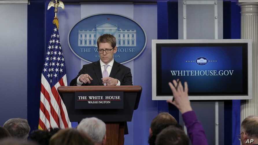 White House press secretary Jay Carney speaks during the daily briefing at the White House in Washington, Monday, Feb. 24, 2014. (AP)