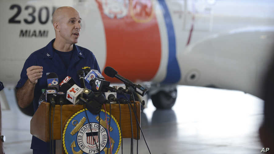 Coast Guard Captain Mark Fedor responds to questions during a press conference on the search-and-rescue missing for container ship El Faro, at Coast Guard Air Station Miami, Florida, Oct. 5, 2015, in a photo provided by the U.S. Coast Guard.