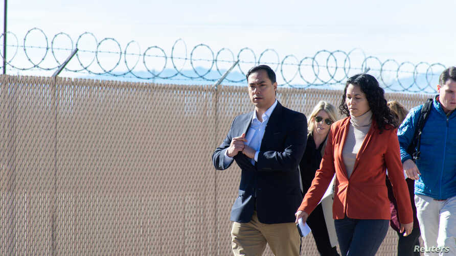 U.S. Representatives Xochitl Torres Small (D-NM) and Joaquin Castro (D-TX) exit after touring a Border Patrol substation with other legislators in Alamogordo, New Mexico, Jan. 7, 2019.